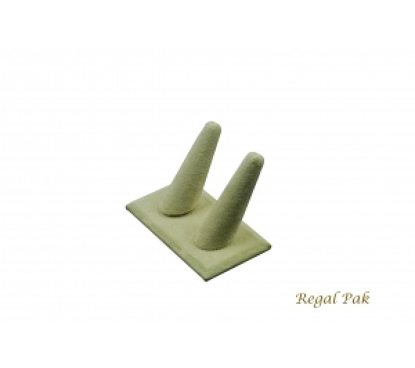 "Beige Faux Suede 2-Finger Ring Holder 4"" X 2-1/4"" X 2-3/8""H"