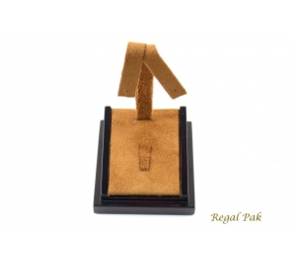 """Chestnut Suede With Dark Brown Faux Lether Trim Earring /Ring Tree Display-(Wood Base) 2-3/4"""" X 3"""" X 4-3/4""""H"""