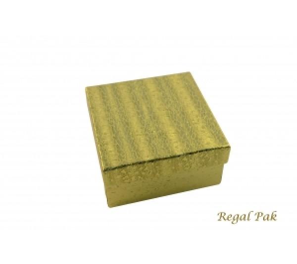 "Gold Texture Cotton Filled Box- 3 3/4"" x 3 3/4"" x 2""H  (100 pcs)"