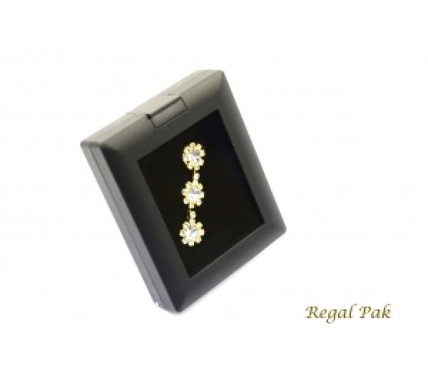 "Glass-Top Flat Foam Gem Box - Black 2 1/2"" X 3"" X 3/4""H"