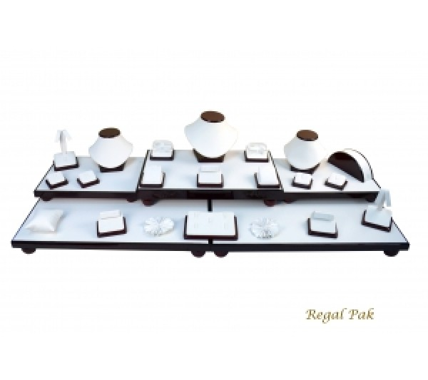 "Elegant Rosewood Display Set With 26 Pieces 40-1/4""W X 16""D X 9-3/4""H"