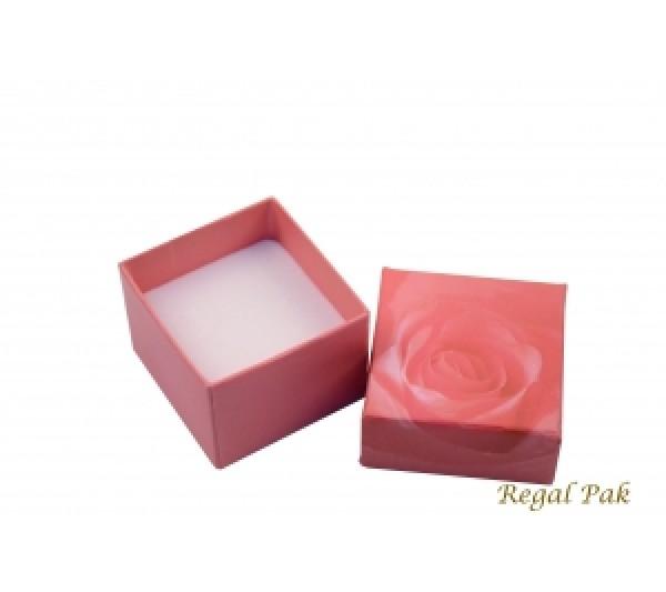 Pink Rose Pattern Paper Ring Box 1 7/8''w X1 17/8''d X 1 3/8''H