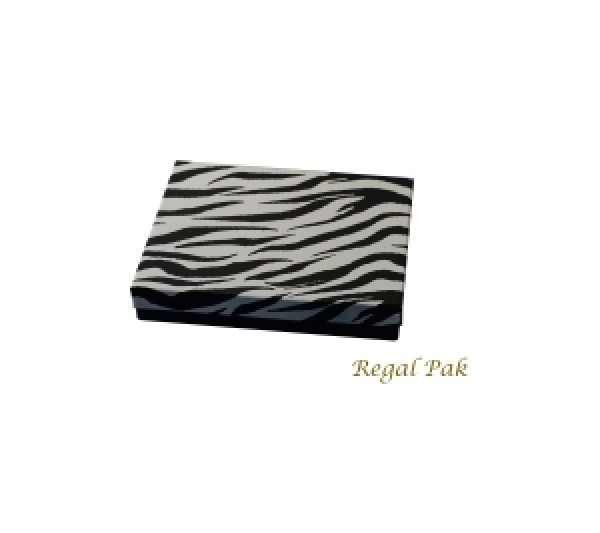 "Zebra Cotton Filled Box   - 6 1/8"" X 5 1/8"" X1 1/8""  (100 pcs)"