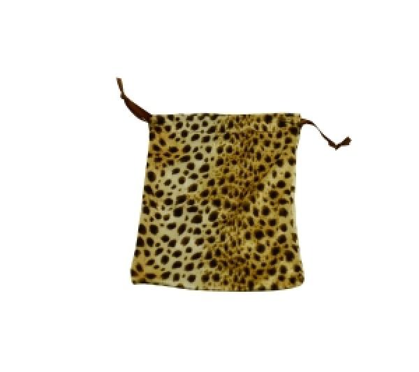 """Leopard Velveteen drawstring pouch 4"""" x 5"""" one dozen"""