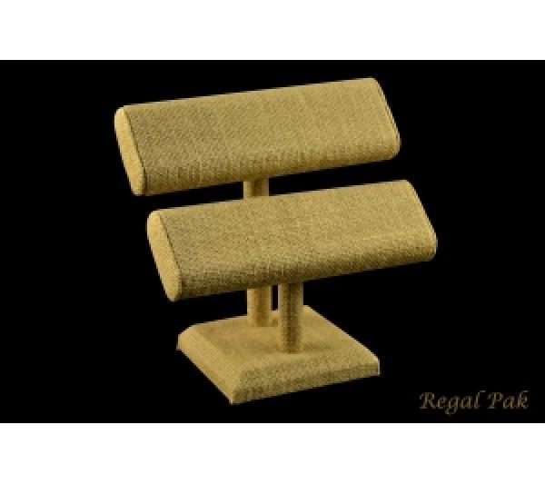 "Burlap Natrual 2-Level Oval Shape T-Bar Display 7-1/2"" X 7""H"