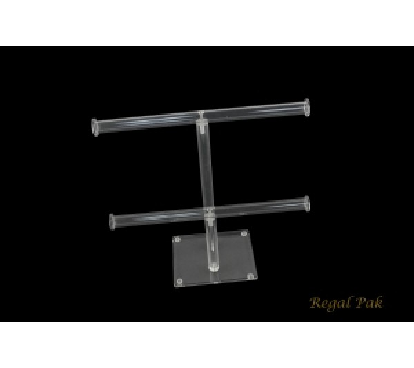 """Acrylic Dual T-Bar (Double Round) For Necklace And Bracelet Display 10""""W X 9 3/4""""H"""