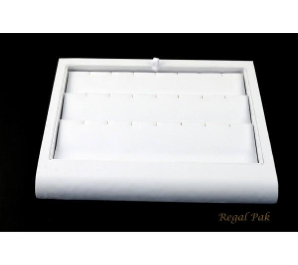 "White Leatherette Pendant Tray 9-3/8"" X 7-3/8"" X 7/8""H"