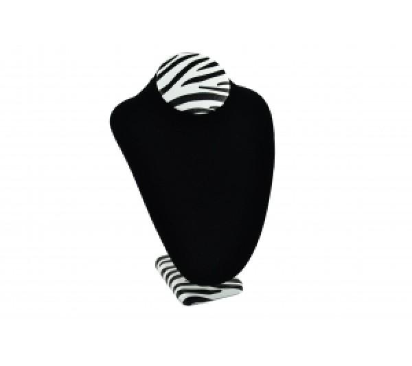 "Zebra / Black Velvet Large Necklace Bust 7 1/2"" X 5 1/8"" X 11""H"