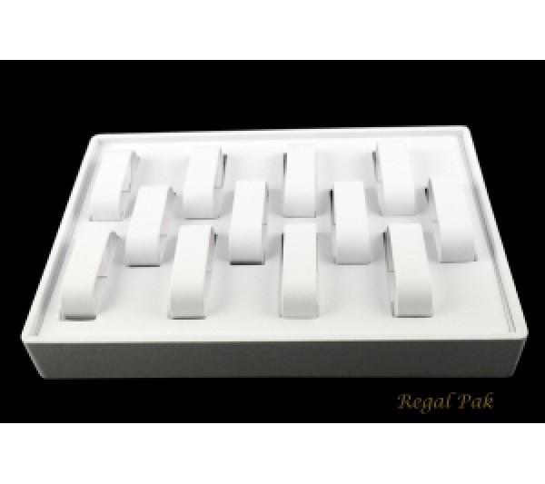"""White Stackable Watch Tray (12-Collar) 12-1/2"""" X 8-3/4"""" X 1-7/8""""H"""