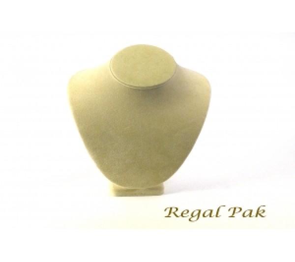 "Beige Color Velvet Necklace Display 7-1/2"" X 5-1/8"" X 11""H"