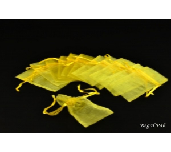 "Gold  Organza Drawstring Pouch 3"" X 4""  (12 Pieces/One Dozen)"