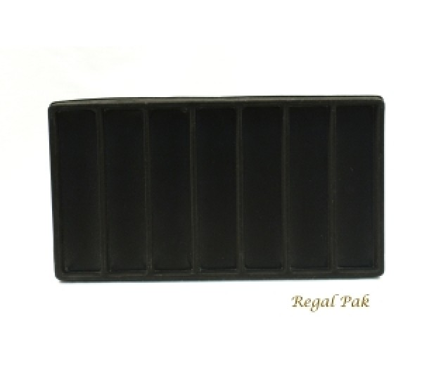 """Full Size Black Flocked Plastic Tray Liner (7-Section) 14-1/8"""" X 7-5/8"""" X 1/2""""H"""