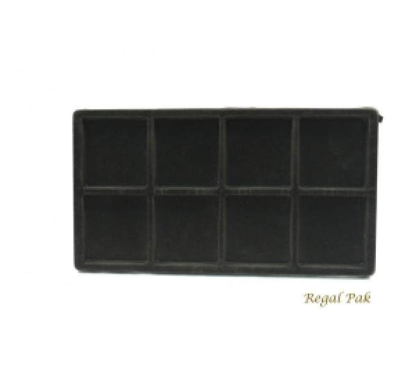 """Full Size Black Flocked Plastic Tray Liner (8-Section) 14-1/8"""" X 7-5/8"""" X 1/2""""H"""