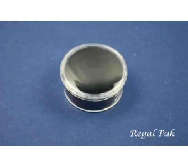 """Clear Acrylic Round Gem Jar With Black Foam (One Dozen) 1 1/8"""" Dia"""