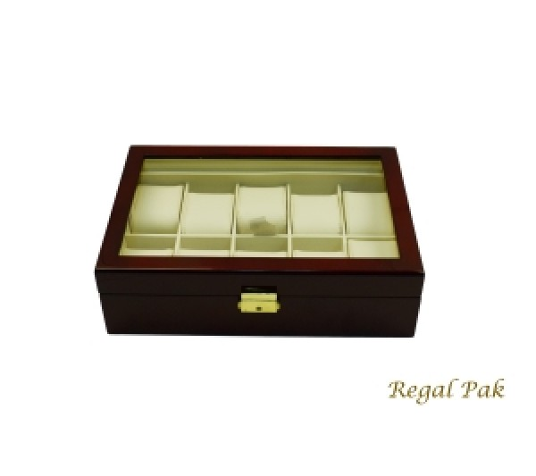 "Elegant Rosewood Glasstop Watch Case With Suede Inserts (10-Watch) 11 5/8"" X 8"" X 3 1/4""H"