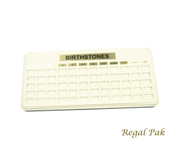 """White Leatherette 12-Month Birthstone Ring Tray 13-3/4"""" X 6-3/8"""" X 7/8""""H ~ 2""""H"""