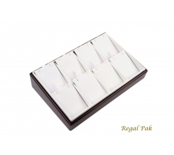 """White Faux Leather With Cherry Rosewood Trim (8 Pads) 8-1/2"""" X 5-3/8"""" X 2""""H"""