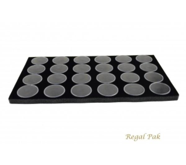 """Foam w/ 24 Large Black Jars 14 1/4"""" x 7 3/4"""" x 3/4""""H;1 1/8"""" Dia Jar"""