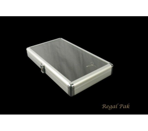 "Aluminum Case with Glass Top and Locker 14-3/4"" X 8-1/4"" X 2-1/8""H"