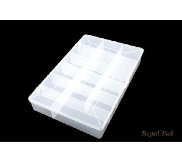 "Frosted plastic organizer - 17 compartment 10- 3/4"" x 7"" x 1- 3/4""H"