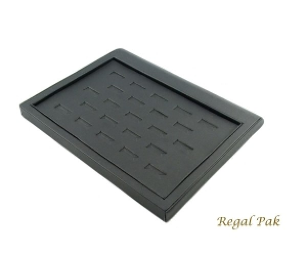 """Black Leatherette Ring Tray Display (23 Ring) 9-3/8"""" X 7-3/8"""" X 7/8""""H"""