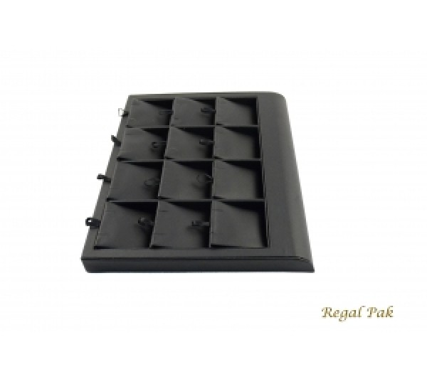 """Black Leatherette Earring Tray Display (12 Prs.) 9-3/8"""" X 7-3/8"""" X 7/8""""H"""