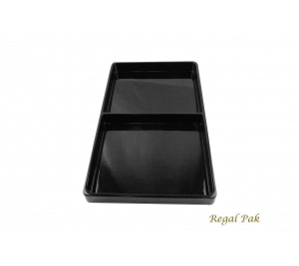 """Black Plastic Stackable Tray (2 Compartment) 15-7/8"""" X 9-1/2"""" X 1-3/8""""H"""