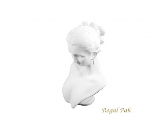 "White Elegant Poly Figure Display 5-1/2"" X 3-1/3"" X 8""H"