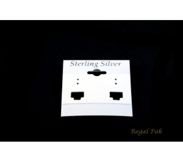 """White Plastic Sterling Silver French Clip Hanging Earring Card """" 2 X 2 """"H"""